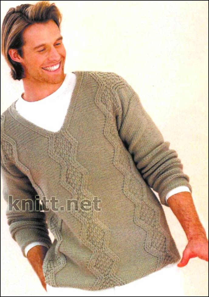 вязание свитера с V образным вырезом схема