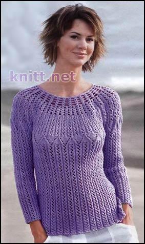 Красивый пуловер сиреневого