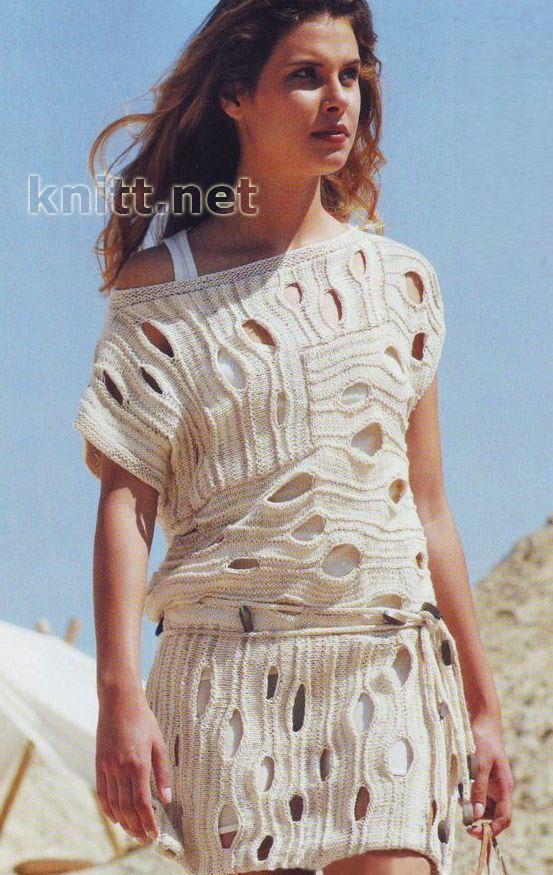Пляжное платье крючком с кружевным