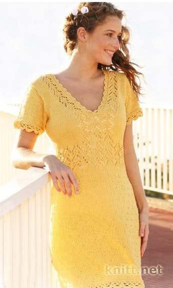 Красивое летнее платье жёлтого